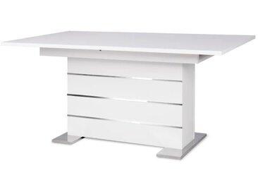 MANTOVA Table extensible 6 à 8 personnes style contemporain blanc et alu - L 160 à 200 cm