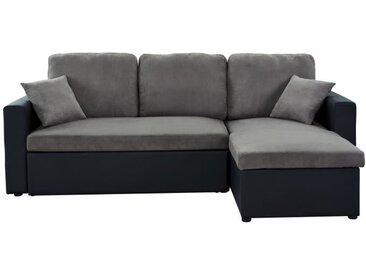 ASPEN Canapé d'angle réversible convertible 3 places + Coffre de rangement - Tissu gris et simili noir - L 223 x P 150 cm