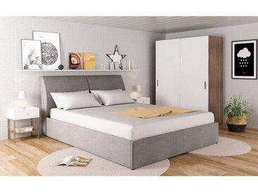 NIGHT Lit coffre relevable tissu gris clair + Sommier - l 160 x L 200 cm