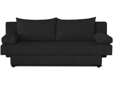 Banquette convertible PIRY 3 places - Tissu noir - Classique - L 187 x P 88 cm