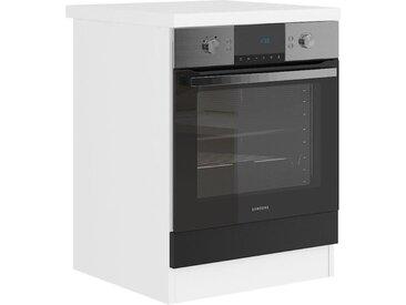 ULTRA Meuble four avec plan de travail L 60 cm - Noir mat et décor stratifié blanc