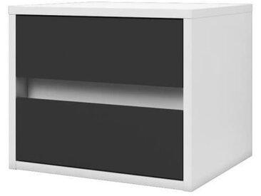 POP Chevet contemporain mélaminé blanc et gris mat - L 40 cm