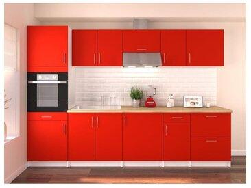 OBI Cuisine complète L 300 cm avec colonne - Rouge mat