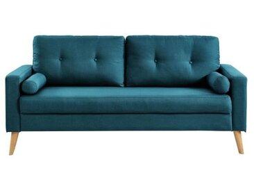 IBRA Canapé droit fixe 3 places - Tissu bleu - Scandinave - L 181 x P 86 cm