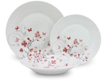 Service de Table 18 pièces en porcelaine Papillons rouge