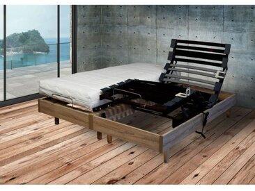 Ensemble relaxation Matelas + sommier 2x80x200cm MERIDA - Chêne clair - 14cm - Ferme
