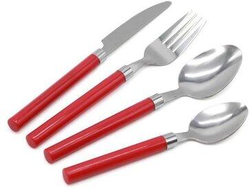 Pradel Excellence Menagere 16 Pieces Rouge - Acier Inoxydable - 4 Couteaux, 4 Fourchettes, 4 Cuilleres - avec Range Couverts offert