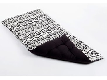 Matelas de sol souple 100% coton imprimé DJERBA 120x60x5cm - Noir