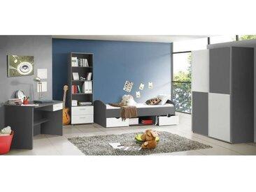 LUPO Chambre enfant complète style classique décor gris et blanc mat - l 90 x L 190 cm