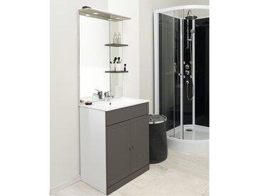 TOLEDE Ensemble meuble de salle de bain 60cm - Taupe et gris