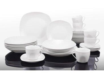 T1003048-60X - Service de table 60 pièces - Porcelaine - Forme faux carrée - Blanc
