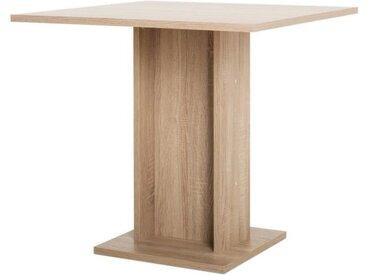 GUSTAVE Table à manger carrée de 2 à 4 personnes classique décor chêne - L 80 x l 80 cm