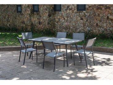 Ensemble repas de jardin 6 personnes effet mosaïque - table 180 cm + 1 lot de 6 fauteuils - DARLA