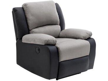 RELAX Fauteuil relaxation Electrique - Simili noir et tissu gris - L 88 x P 93 x H 96 cm