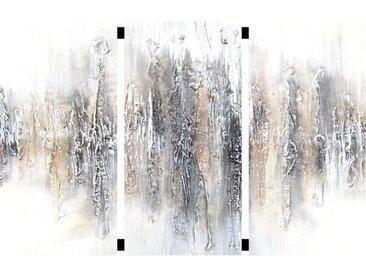 Toile originale triptyque Abstrait Sidéral 3 - 35 x 70 cm - Jaune