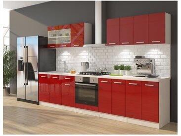 ULTRA Cuisine complète avec meuble four et plan de travail inclus L 300 cm - Rouge brillant