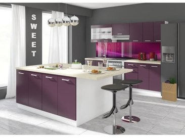 ULTRA Ilot de cuisine L 200 cm avec plan de travail - Aubergine mat