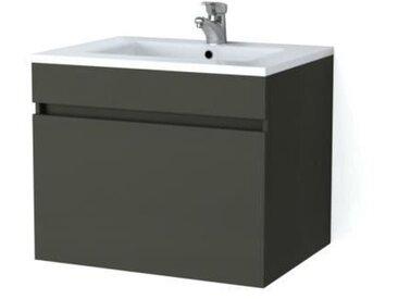 LUNA Ensemble salle de bain simple vasque L 60 cm - Gris mat