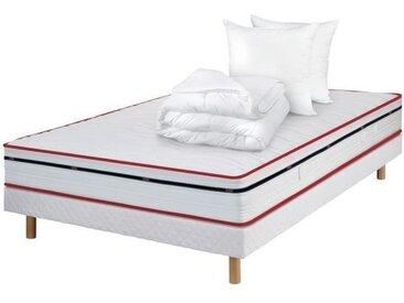 DODO STONA Pack Complet Matelas 160x200 + sommier + couette et oreillers - 660 Ressorts ensachés - 5 zones - 20 cm