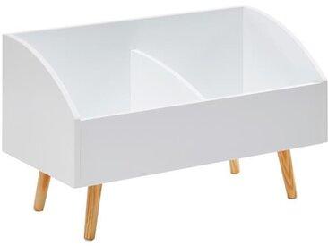 NEVA Coffre à jouets scandinave blanc laqué mat + pieds en bois pin massif - L 70 cm