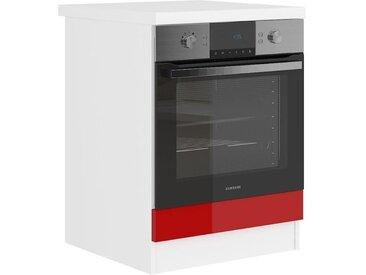 ULTRA Meuble four avec plan de travail L 60 cm - Rouge brillant et décor stratifié imitation pierre