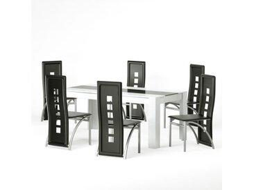 DAMIA Ensemble table à manger 6 à 8 personnes + 6 chaises contemporain blanc et verre trempé noir - L 180 x l 90 cm