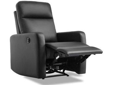 RICK Fauteuil de relaxation électrique - Simili noir - L 76 x P 88 cm