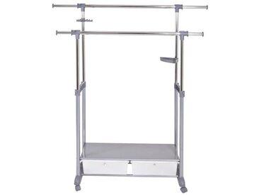 Portant double - Acier et plastique - 141x44x112 cm - 162 cm - Aluminium et chromé - Réglable en hauteur - 2 tiroirs - Crochet