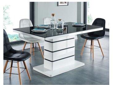 LUCIA Table à manger 6 personnes contemporain - Laqué blanc + plateau en verre trempé noir - L 150 x l 90 cm