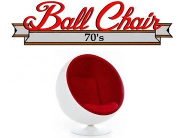 Fauteuil boule, Ball chair coque blanche / intérieur feutrine rouge. Design 70's. rouge Velours Inside75