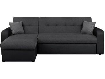 ROMAN Canapé d'angle réversible convertible 3 places + Coffre de rangement - Tissu gris et simili noir - L 235 x P 85 - 153 cm