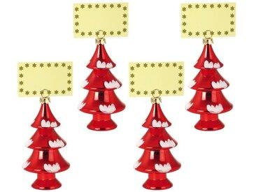 Lot de 4 Décorations sapins de Noël : Porte-Nom rouge