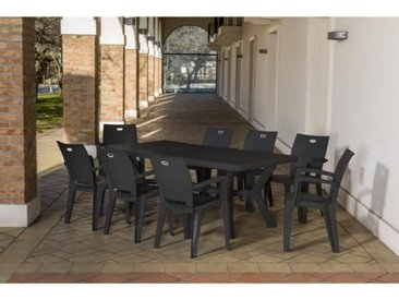 CORFU Table de jardin rectangulaire pieds tulipe L 200 cm - Anthracite