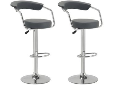 CHARLY Lot de 2 tabourets de bar - Simili gris - Contemporain - H 64 - 83 cm