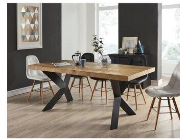 PLATON Table à manger de 6 à 8 personnes style industriel placage bois chêne + pieds métal laqué noir - L 180 x l 90 cm