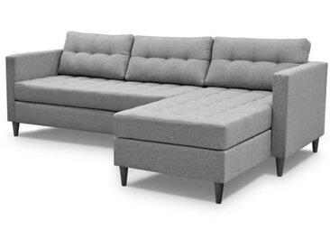 DYAN Canapé d'angle réversible fixe 4 places - Tissu gris clair + pieds noir - L219xP150xH80 cm
