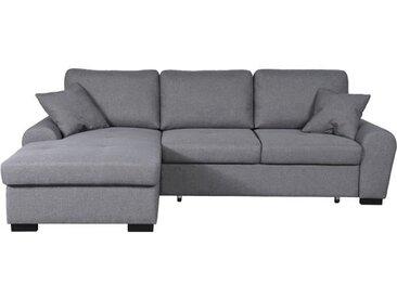 JENA Canapé d'angle gauche convertible 5 places + Coffre de rangement - Tissu gris clair - Contemporain - L 248 x P 173 cm