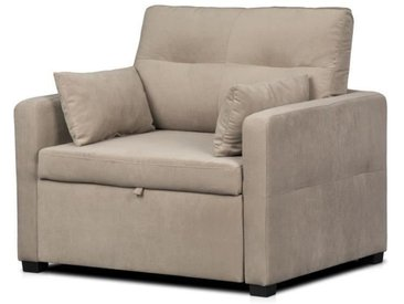 ETHAN Fauteuil convertible - Tissu Taupe - L 104 x P 86 cm