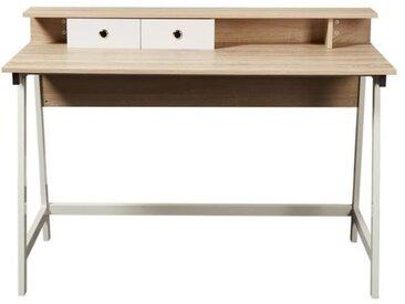 OXFORD Bureau scandinave - Décor chêne clair et blanc - L 120 cm