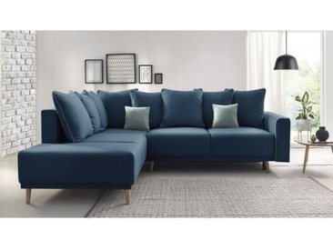 MOLA Canapé d'angle gauche convertible - Tissu Bleu navy - L 252 x P 215 x H 90 cm