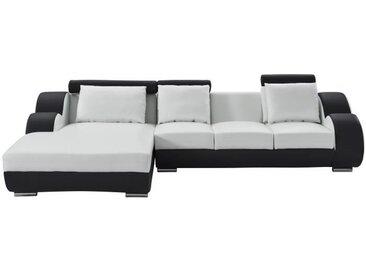 DAMIEN Canapé de relaxation d'angle gauche fixe 6 places - Simili blanc et noir - Contemporain - L 188 x P 160 cm