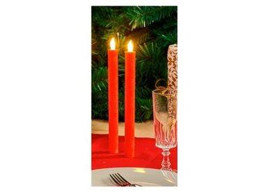 Set de 2 bougies longues de Noël LED en cire - Ø 2 x H 26,5 cm - Rouge