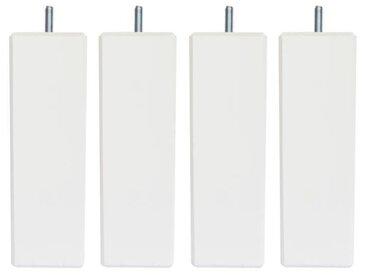 Jeu de pieds carrés L 7 cm x l 7 cm H 14,5 cm - Blanc - Lot de 4