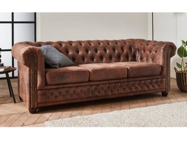 Winston - Canapé 3 places Chesterfield - style industriel Couleur - Marron
