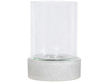 HOMEA Photophore déco esprit béton H24 cm gris clair