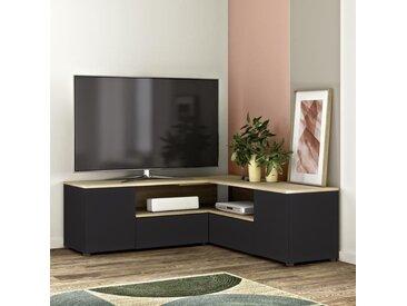 Meuble TV d'angle 4 portes - Décor chêne et noir - L 130 x P 130 x H 46 cm