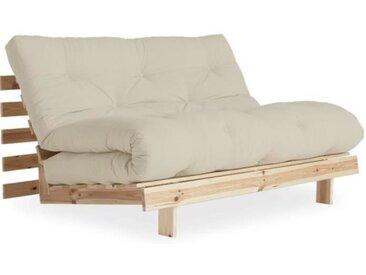 Canapé convertible futon ROOTS pin naturel coloris beige couchage 140*200 cm. beige Tissu Inside75