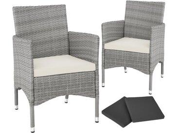 Lot de 2 fauteuils de jardin acier avec 2 sets de housses - gris clair