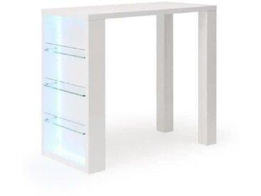 FLASH Table bar avec LED de 4 à 6 personnes style contemporain blanc laqué brillant - L 120 x l 60 cm