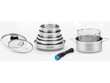 ARTHUR MARTIN Set de 10 batteries de cuisine - Ø16 / 18 / 20 / 22 / 24 / 26 cm - Avec panier à frire - Tous feux dont induction